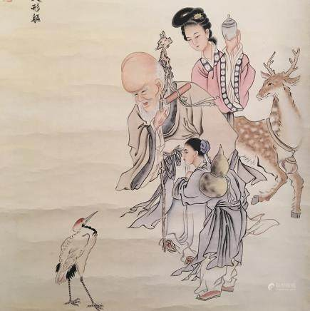 Chinese Hanging Scroll of Immortals Painting