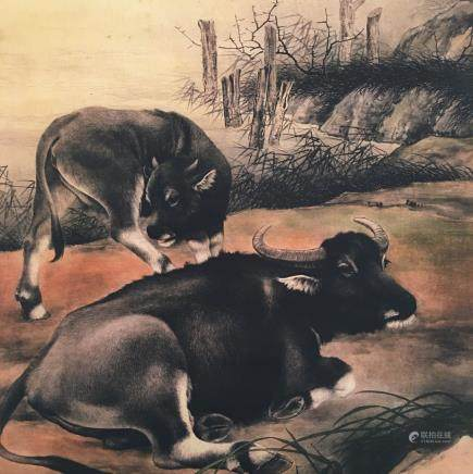 Chinese Hanging Scroll of 'Buffalo' Painting