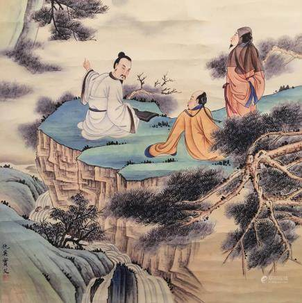 Chinese Hanging Scroll of Figures Painting, Qiu Ying Bao Fu Signature
