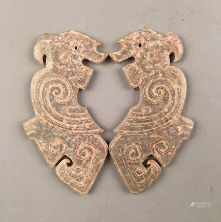 Pair Chinese Western Zhou Carved Jade Parrot