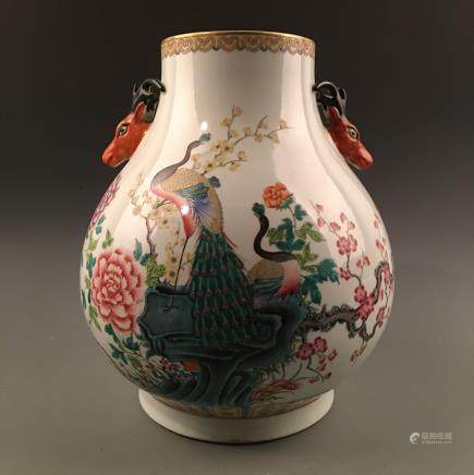 Chinese Famille Rose Porcelain Vase, Deer Heads Handle