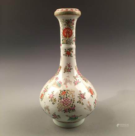 Chinese Famille Rose Galic Vase With Qiang Long Mark