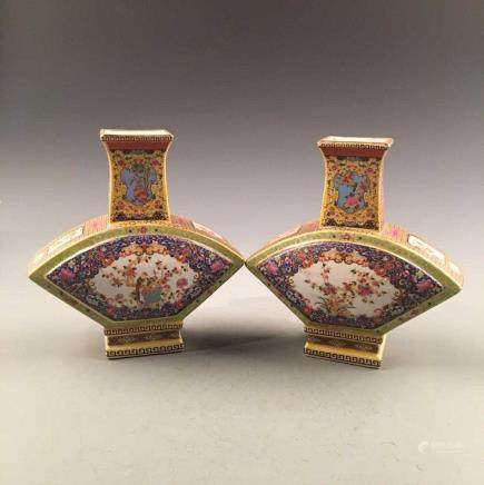 Chinese Enamal Square Vase Pair, Yongzheng Mark