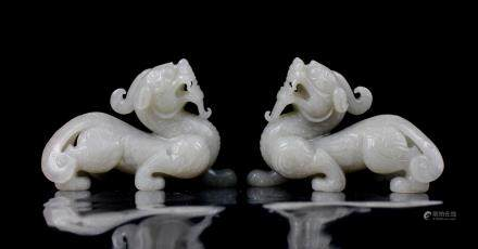 CHINESE WHITE JADE CARVED DRAGONS, PAIR