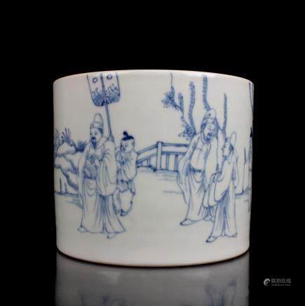 CHINESE BLUE WHITE PORCELAIN BRUSH POT