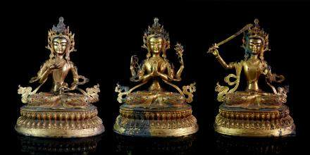 CHINESE GROUP OF 3 GILT BRONZE BUDDHIST FIGURES