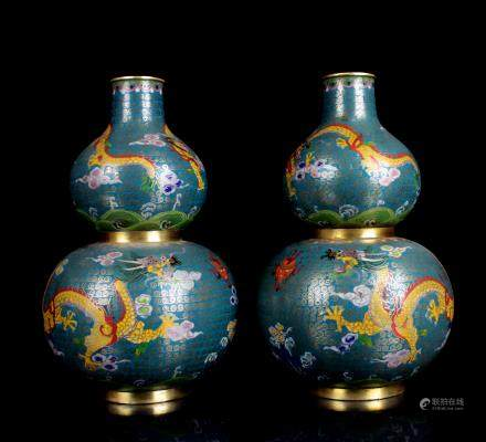 CHINESE CLOISONNE GOURD VASES, PAIR