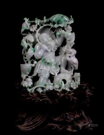 CHINESE JADEITE CARVED FIGURE OF IMMORTAL