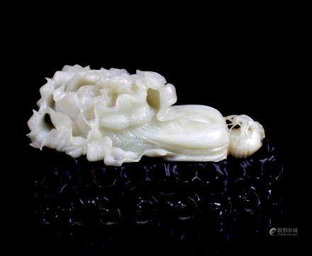 CHINESE WHITE JADE CARVED LETTUCE
