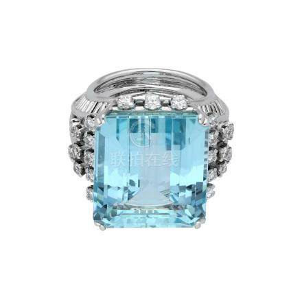 Aquamarin-Brillant-Ring, imposantes Design, in ...