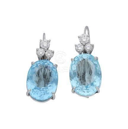 Aquamarin-Diamant-Ohrhänger, in Weissgold 18K, ...