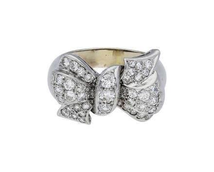Diamant-Ring, stilvolles Modell, in Weissgold ...