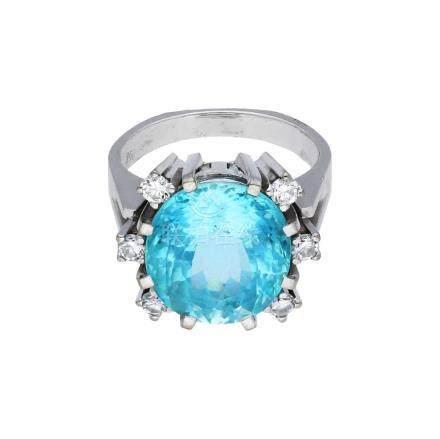 Aquamarin-Diamant-Ring, in Weissgold 18K, ein ...