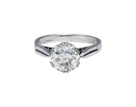 Diamant-Solitär-Ring, in Weissgold 14K, besetzt ...