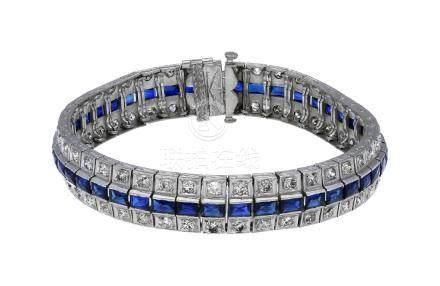 Saphir-Diamant-Armband, bezauberndes Modell, in ...