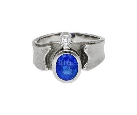 Saphir-Diamant-Ring, signiert Richard Lux, St. ...