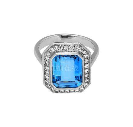 Aquamarin-Diamant-Ring, bezaubernder Ring aus ...