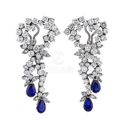 Saphir-Diamant-Ohrgehänge, exquisites Paar aus ...