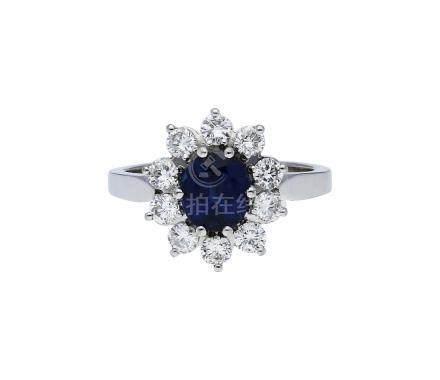 Saphir-Brillant-Ring, klassisch-elegant, in ...