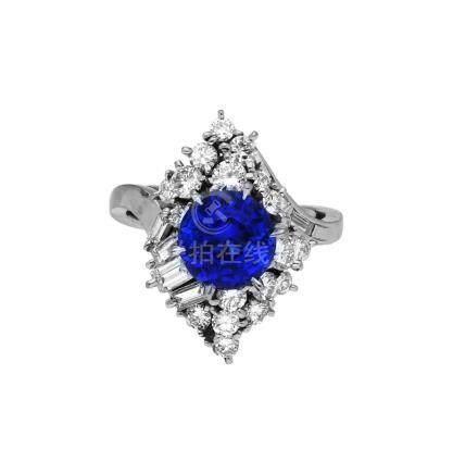 Tansanit-Diamant-Ring, glamuröses Design in ...