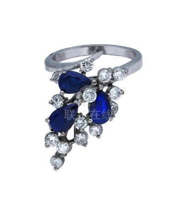 Saphir-Diamant-Ring, imposantes Modell in ...