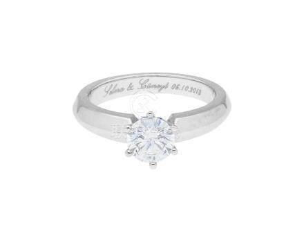 Solitär-Ring, ansprechendes Design in Weissgold ...