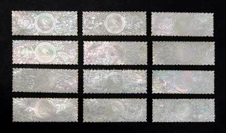 A set of twelve Chinese mother of pearl rectangular gaming counters, 19th century,