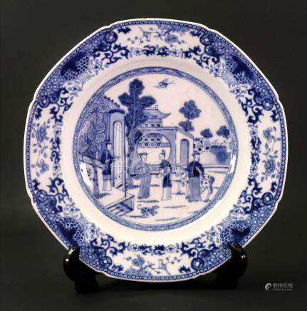 A Chinese Export blue and white soup plate, Qianlong,