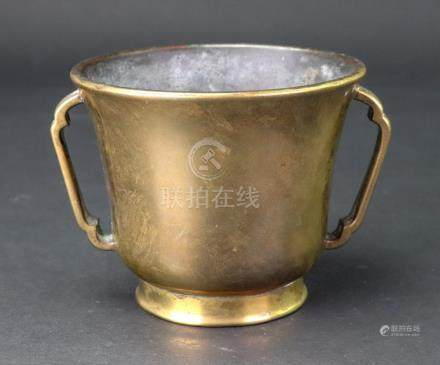 A Chinese bronze two handled censer, six character Xuande mark but later,