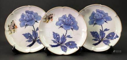 Three Japanese porcelain plates, Edo period, 19th century, each painted in underglaze blue,