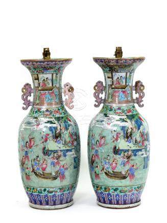 A large pair of Chinese famille rose two handled baluster vases, 19th century,