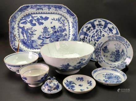 A group of Chinese blue and white Export porcelain, mostly 18th century,