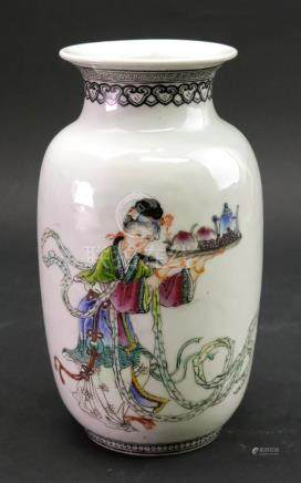A Chinese famille rose vase, 20th century, of swollen cylindrical form,