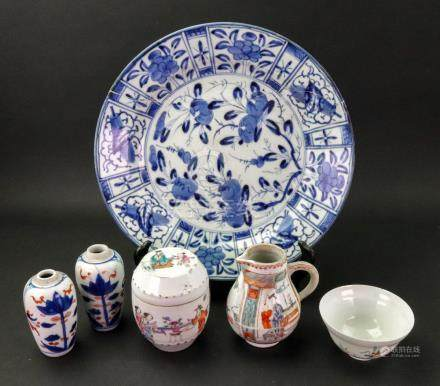 A group of Chinese porcelain, Qianlong and later comprising:- a baluster milk jug,