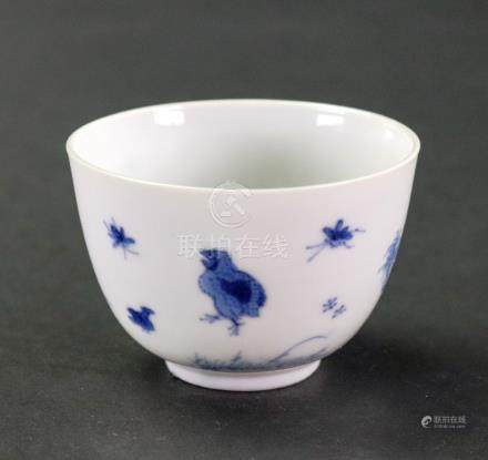 A small Chinese blue and white tea bowl, Chenghua six-character mark but later,