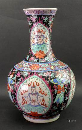 A Chinese famille rose bottle vase, 20th century, probably made for the Tibetan market,