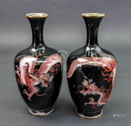 A pair of Japanese cloisonne vases, Meiji period, ovoid form with waisted necks,