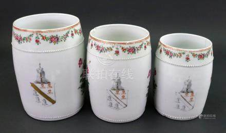 A graduated set of three Chinese Export armorial mugs, Qianlong,