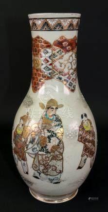 A Japanese Satsuma bottle vase, Meiji/Taisho period, painted with figures beneath a brocade border,