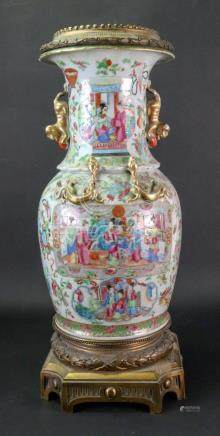 A Canton gilt metal mounted famille rose baluster vase, 19th century,