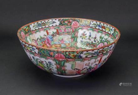 A Chinese famille rose bowl, early 20th century, enamelled with panels of figures,