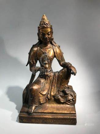 Chinese Bronze Kuanyin in Relax Pose