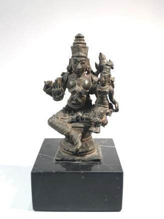 Indian Bronze Figruine on Bvlack Marble Stand