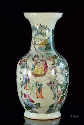 Large Chinese Famille Rose Porcelain Vase - Figural