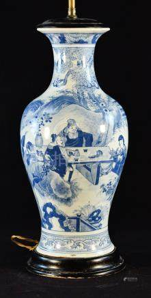 Chinese Blue White Porcelain Lamp with Figural Scene