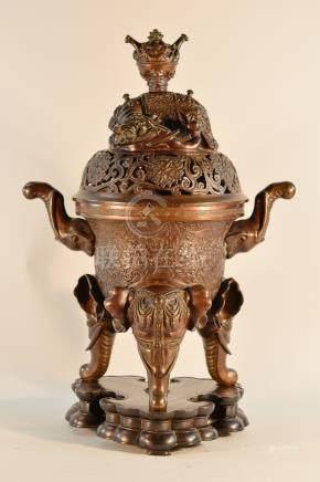 Chinese Bronze Censer with Elephant Leg