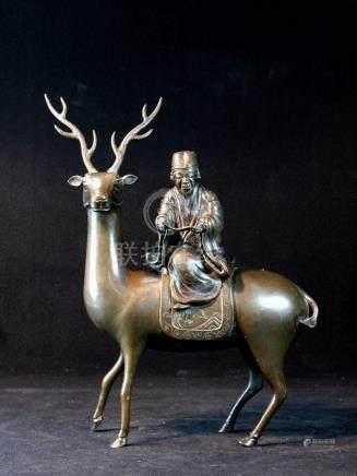 Chinese Bronze Censer of Scholar Riding Deer