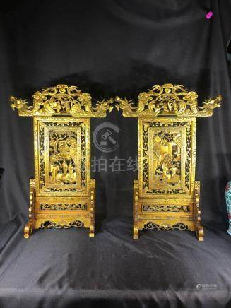 Pair Chinese Gold Lacquer Screen with Warriors