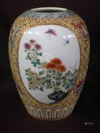 Chinese Famille Rose Porcelain Vase with Floral Scene