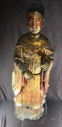 Large Chinese Dry Lacquer Immortal Figurine